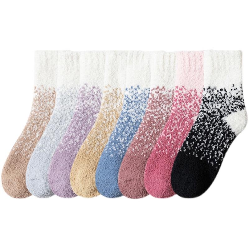 珊瑚绒加绒加厚冬天保暖地板袜