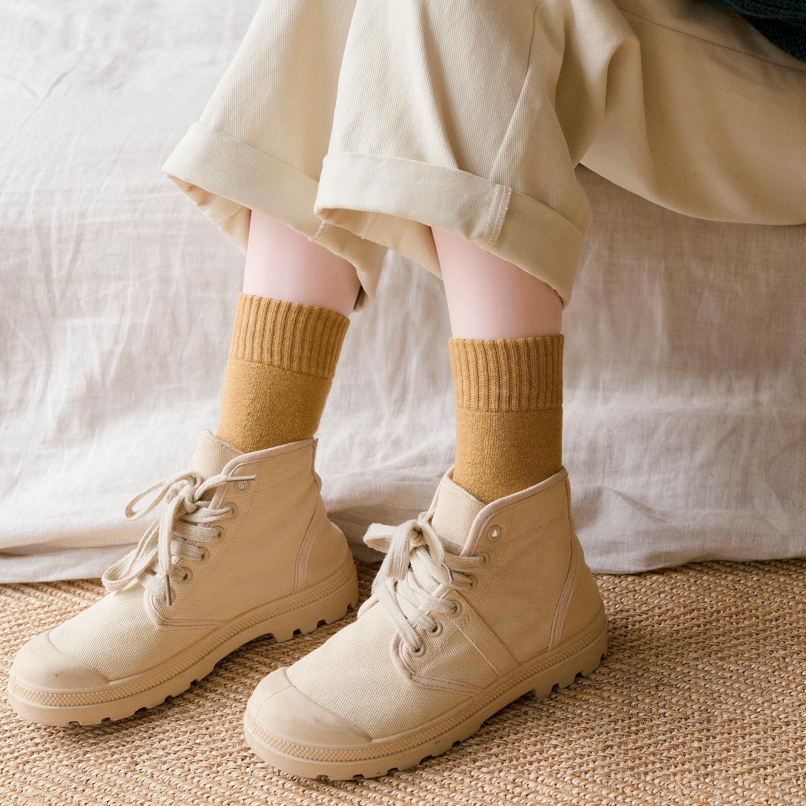 加厚袜子女冬季日系加绒黑色中筒袜ins潮百搭冬天保暖毛圈袜纯棉