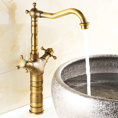 全铜欧式仿古台上盆龙头洗面盆龙头冷热水龙头卫生间洗脸盆水龙头 - 图2