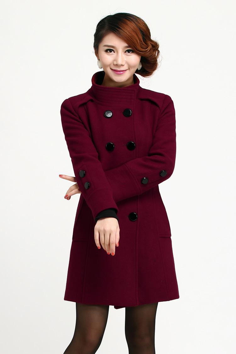 2018秋冬新款动感 哥弟女装羊绒大衣中长款修身羊毛呢双排扣外套