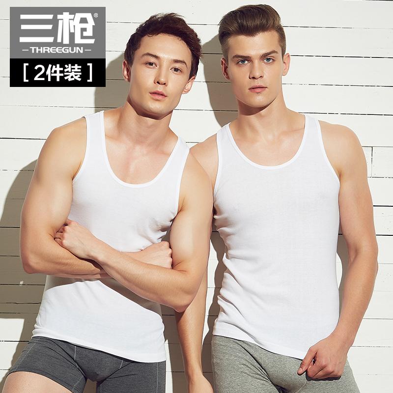 三枪男士背心纯棉秋季白色跨栏工字健身运动打底男式全棉背心男潮