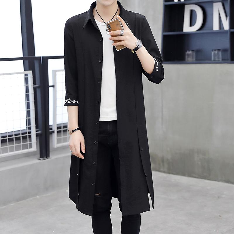 男士夏季风衣 新款韩版潮流夏装外套男过膝风衣男中长款薄款潮  2019