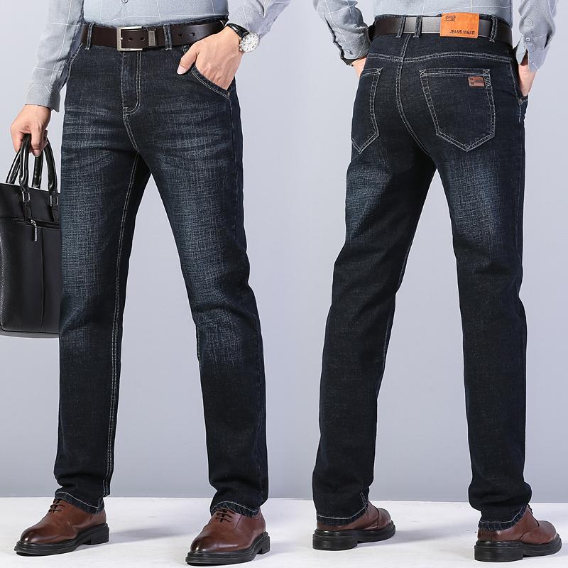 【珞缤垲】直筒弹力商务休闲牛仔裤