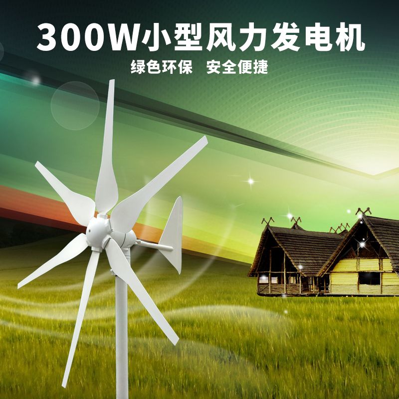 包邮300W微小型风力发电机家用220V组风光互补系统12V24V风能发电