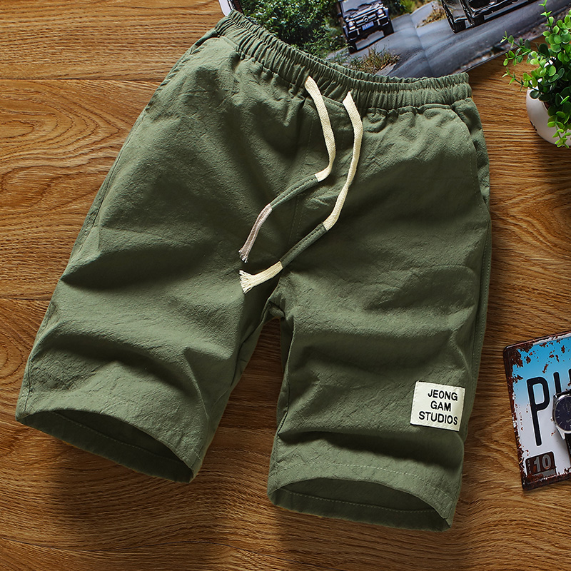 2018夏季时尚休闲韩版新款修身弹力青年男士潮流纯色宽松五分裤