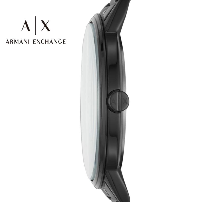 阿玛尼手表男Armani Exchange 黑色钢带时尚男士石英手表AX2701