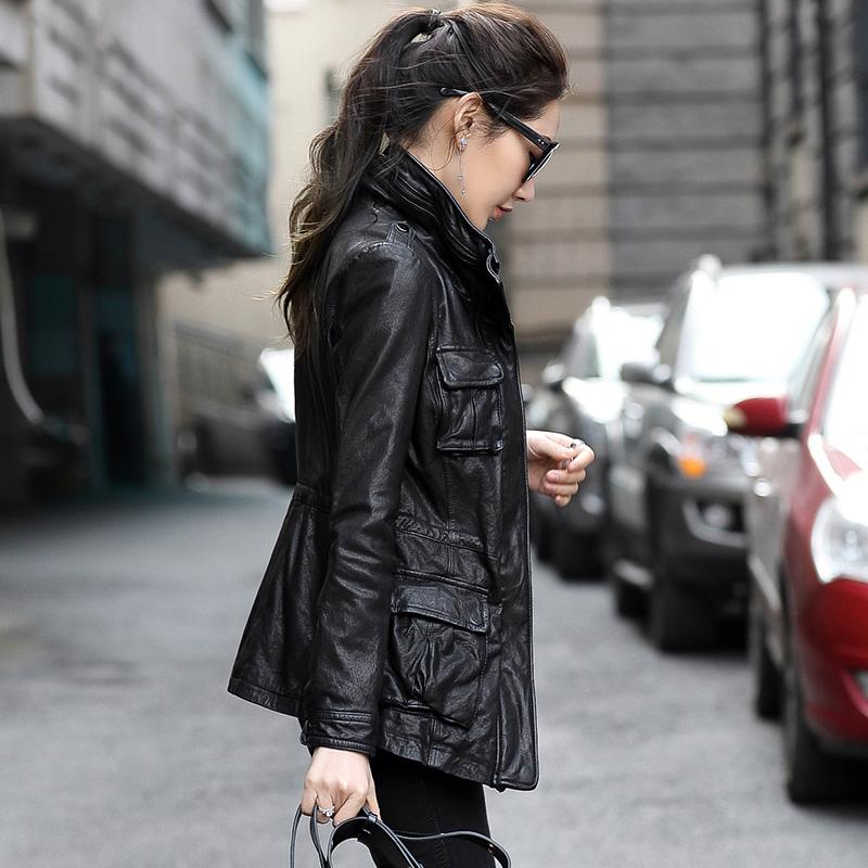新款春秋做旧真皮皮衣中长款女装 绵羊皮机车修身皮夹克外套大码