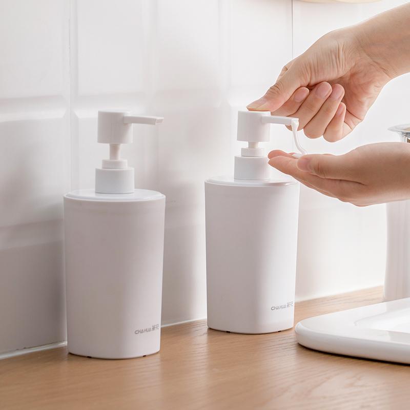 茶花大容量分装瓶按压式乳液洗发水沐浴露简约