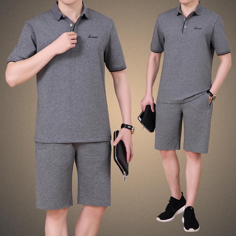 爸爸装套中年男士休闲运动服装夏季宽松薄款短袖长裤两件套休闲装