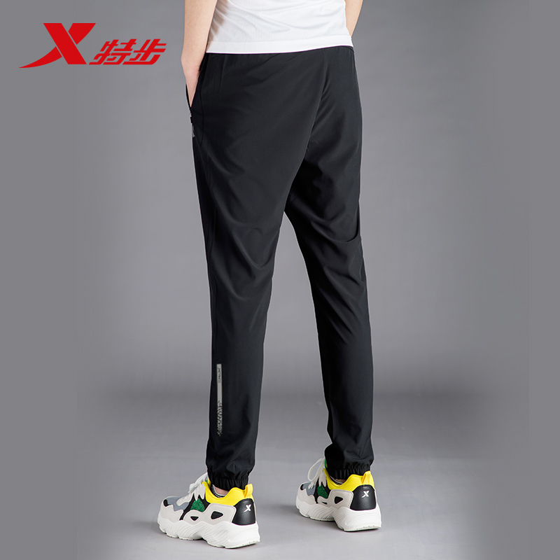 特步男裤休闲裤2020年春夏季男子薄梭织拉链黑运动长裤速干裤子男
