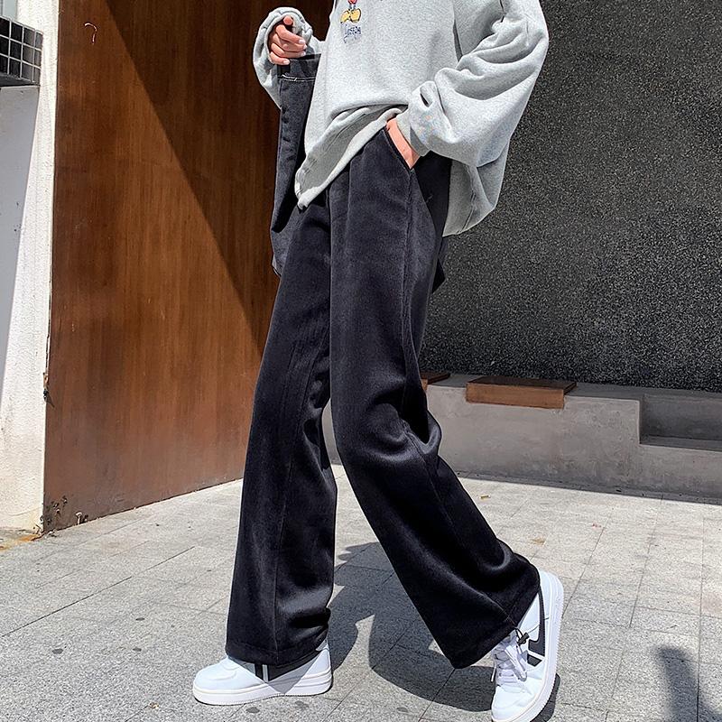 加绒灯芯绒阔腿裤子女秋冬季直筒宽松大码丝绒卫裤加厚条绒运动裤