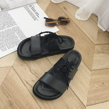 Hong Kong-style chic lace-up straps parallel bar slippers female summer students Harajuku thick-soled outdoor wear slip-on slippers