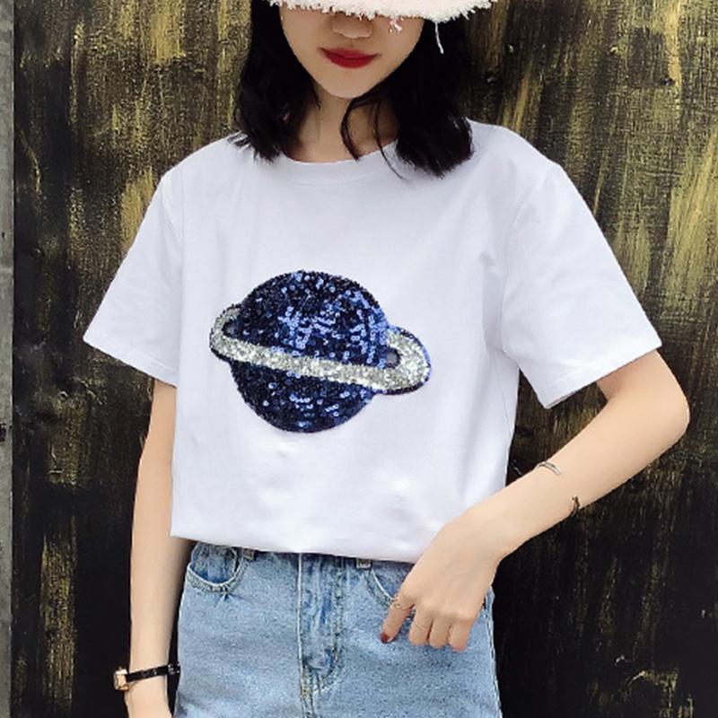 星空短袖t恤女2019夏季韩版白色纯棉宽松半袖超火星球亮片上衣女