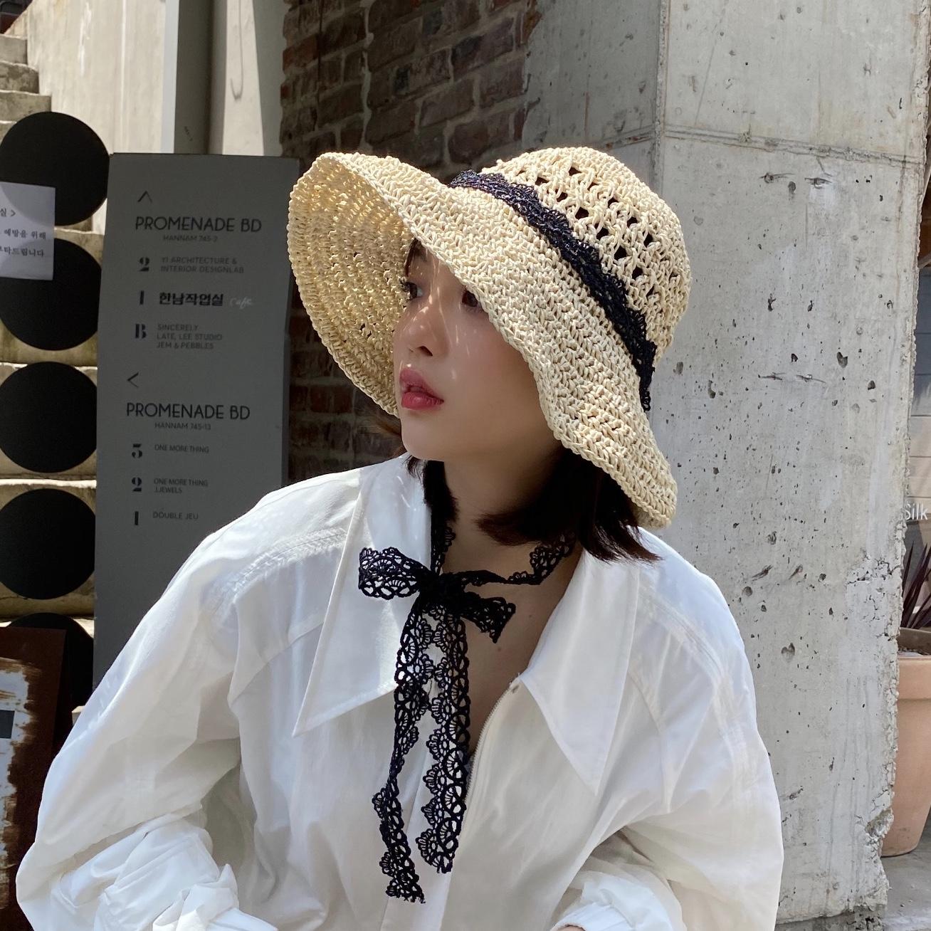 网红草帽女夏蕾丝绑带沙滩帽韩版小清新海边出游度假防晒遮阳帽子