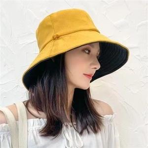 渔夫帽女夏韩版潮日系网红双面遮脸防紫外线帽子大沿遮阳帽防晒帽