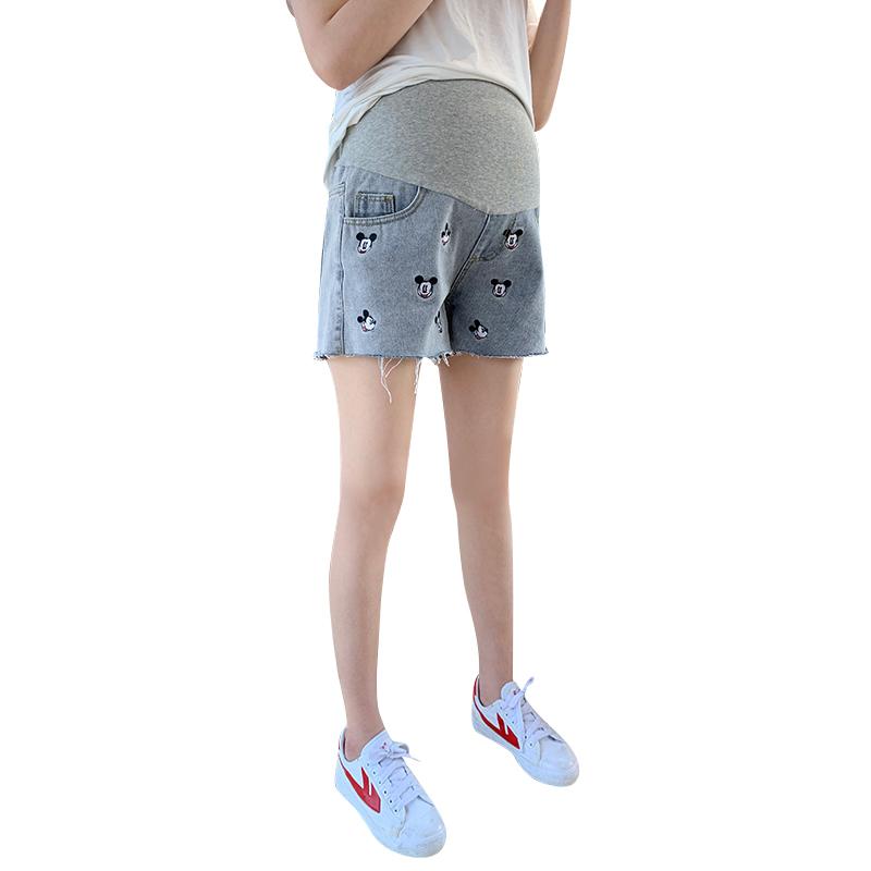 时尚款米奇孕妇牛仔短裤外穿孕妇短裤夏季阔腿打底裤春夏薄款夏装
