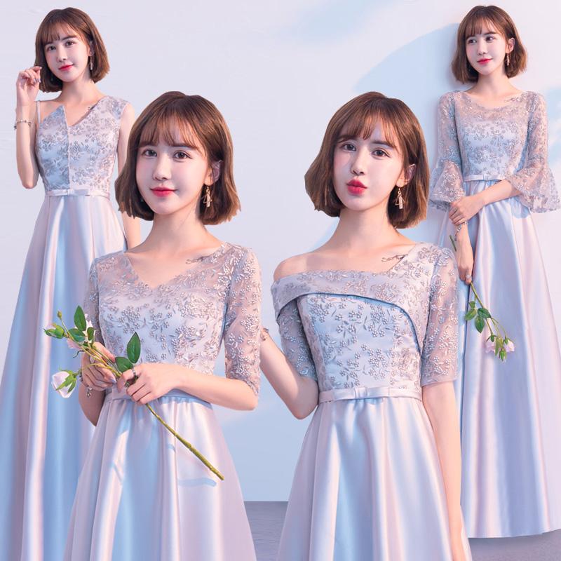 灰色韩版伴娘服2019新款显瘦姐妹裙伴娘礼服女长款闺蜜伴娘团学生