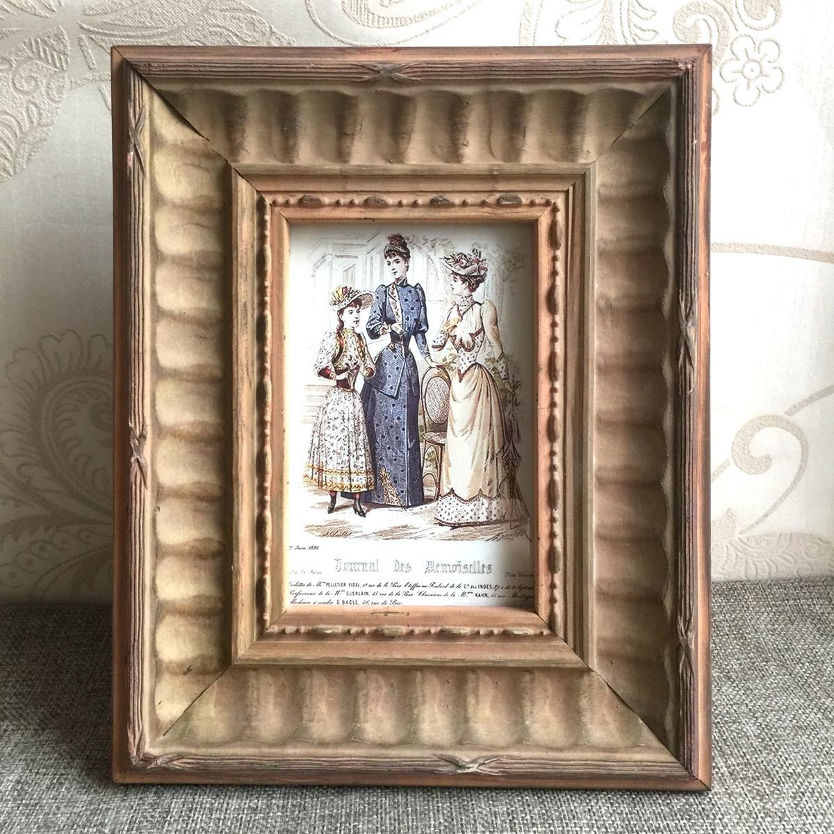 摆件装饰创意礼品 实木相框 复古古典 寸欧式美式相框 7 寸 6 寸 3