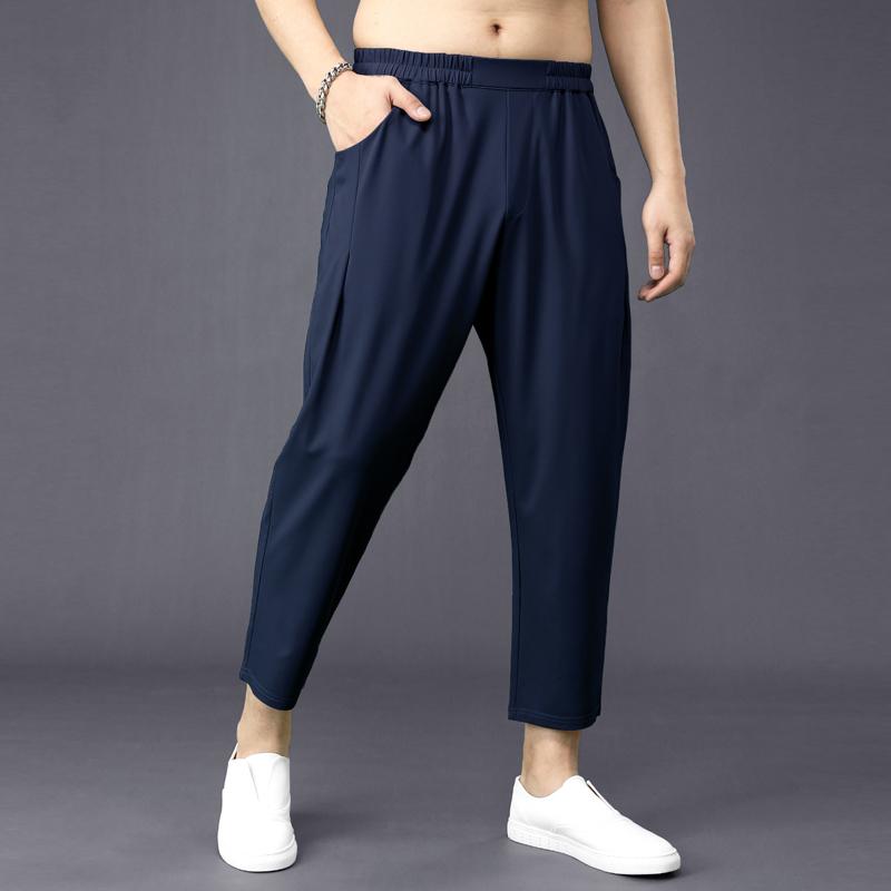 夏季萝卜裤男宽松哈伦裤男小脚加肥加大码九分裤男士薄款