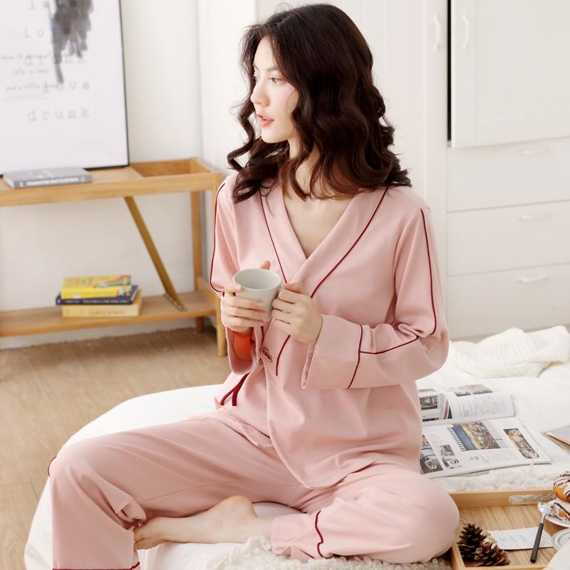 春秋季月子服纯棉纱布厚款产后孕妇睡衣女冬天哺乳喂奶怀孕期套装