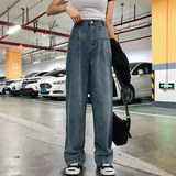 Large size wide leg pants female students Korean version of the loose straight dragging pants fat sister high waist was thin and elegant ya jeans