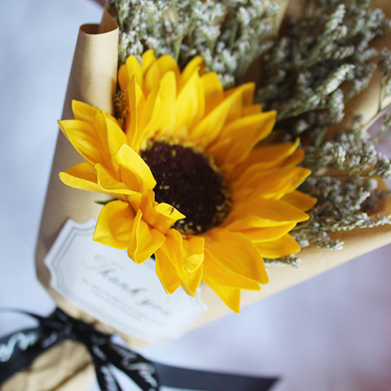 仿真向日葵拍照背景道具裝飾擺件生日禮物 小花束 ins