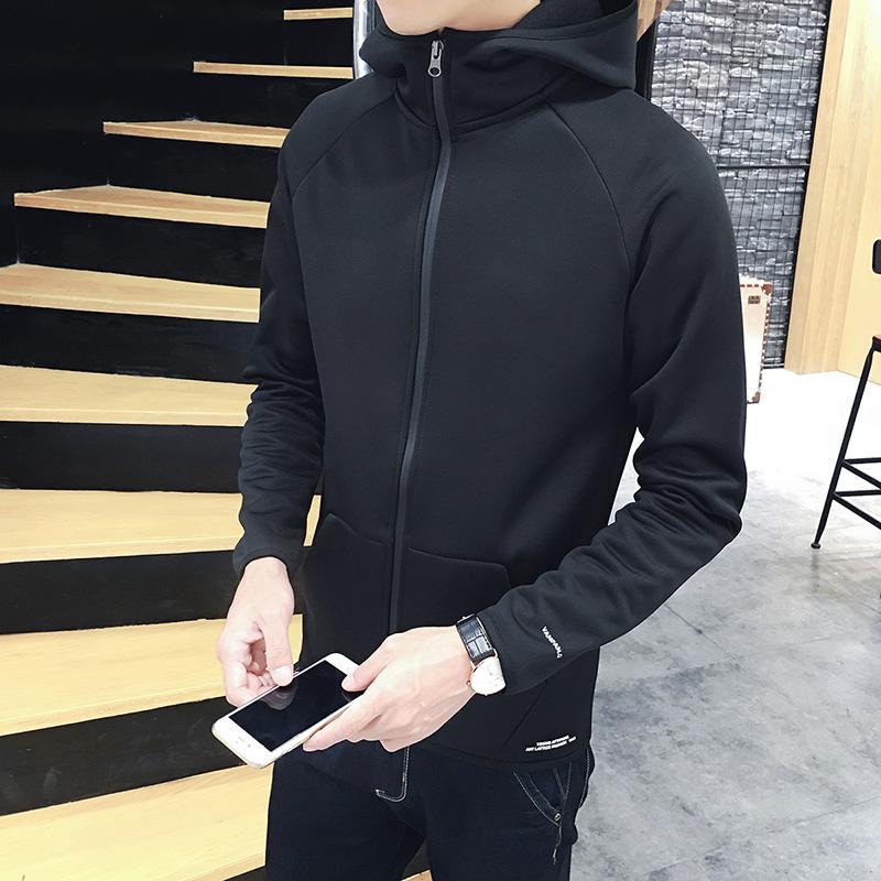 2021春秋连帽卫衣男士韩版青年修身开衫运动春装外套衣服上衣男装