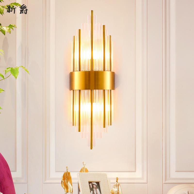 后现代简约水晶壁灯客厅卧室床头灯走廊过道创意北欧水晶墙壁灯具