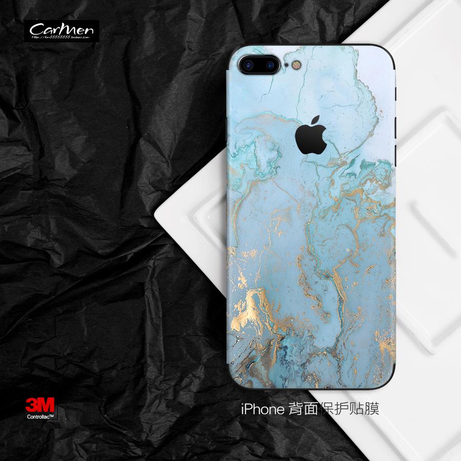 蘋果iphone6 6s 7 8 plus手機Xs max彩膜定製大理石貼紙背貼保護