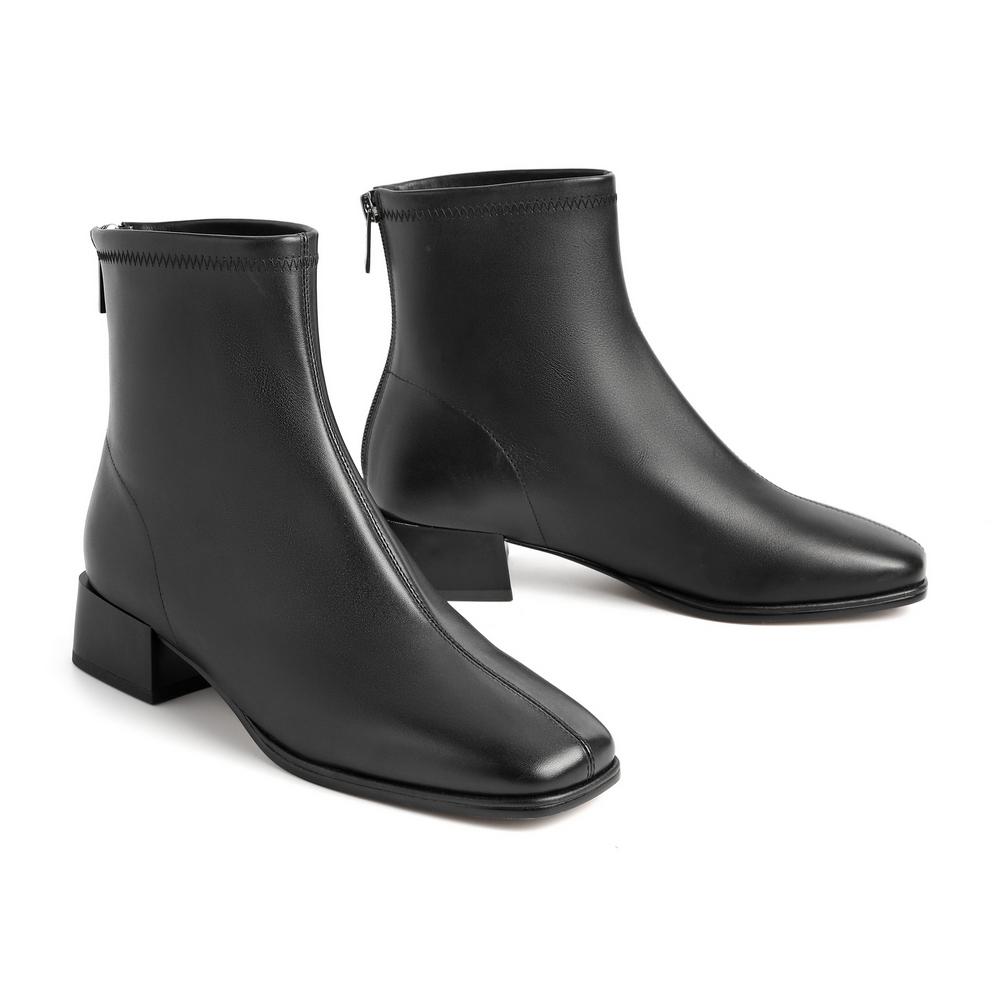 3G946DD0 冬新款小牛皮革女皮短靴 2020 百丽 BELLE