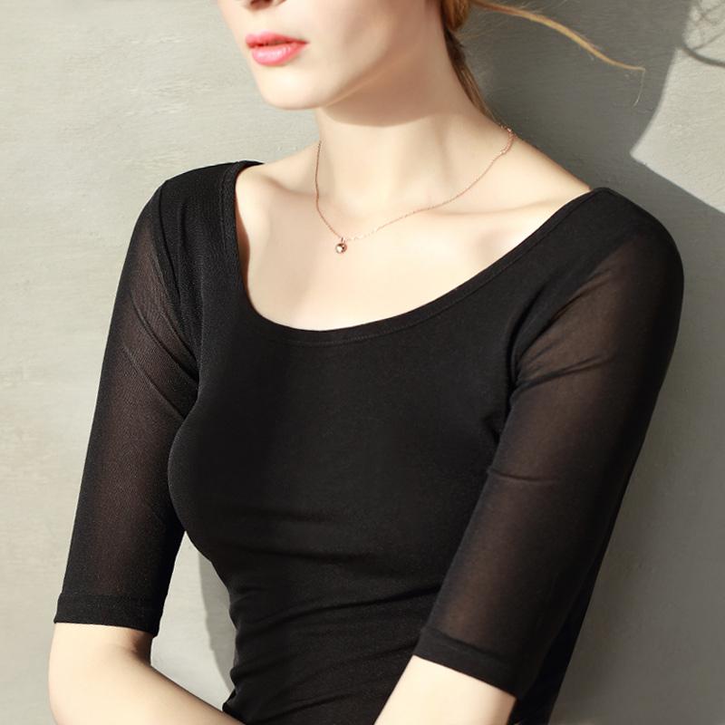 網紗中袖緊身打底衫女薄款2019春夏新款修身短袖黑色t恤半袖上衣