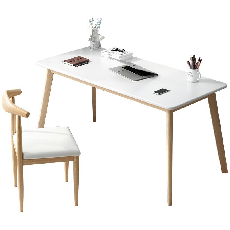 北欧电脑台式桌卧室实木书桌简约家用学生写字桌子电脑桌椅组合