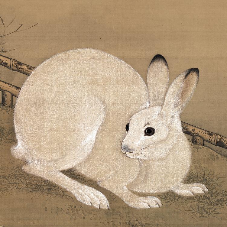 仿古画复制清冷枚梧桐双兔图挂轴卷轴画书房玄关挂画吉祥装饰画