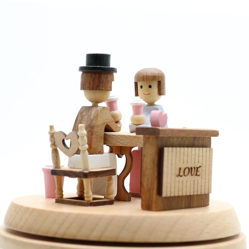 木质音乐盒情人约会八音盒创意生日结婚礼物送女友闺蜜老婆