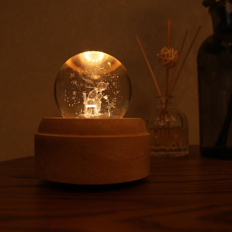 水晶球音乐盒旋转小王子玫瑰花八音盒木质天空之城送女生生日礼物