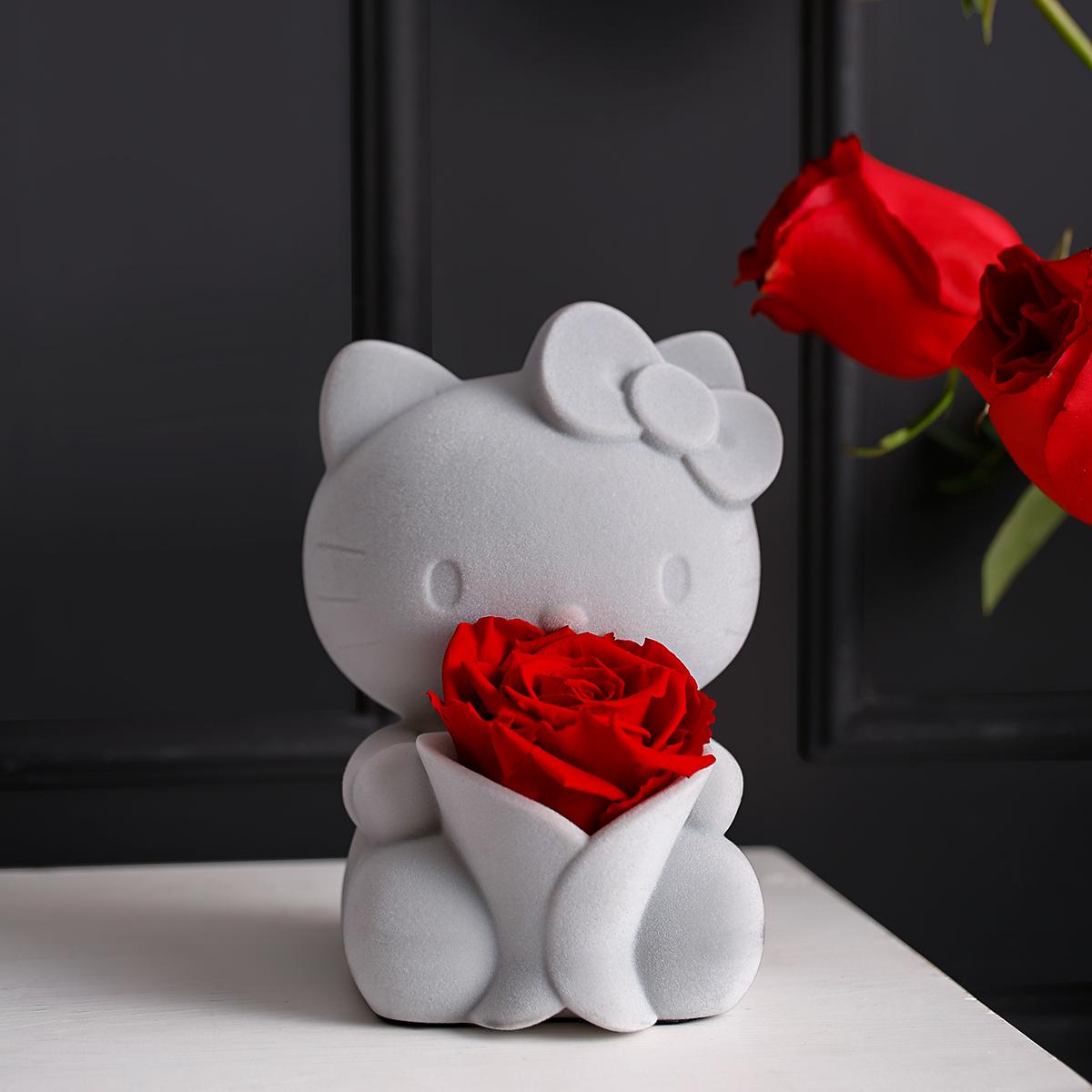 音乐盒永生花玫瑰八音盒女生老婆女友闺蜜生日创意礼物 HelloKitty