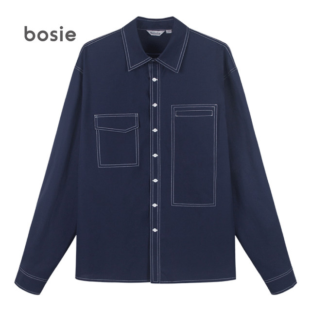 Shirt men couple female solid color casual long sleeve trend jacket spring and autumn shirt 306