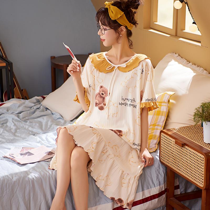 睡衣女夏季睡裙棉质短袖宽松长款可爱大码学生甜美简约新款可外穿 No.2