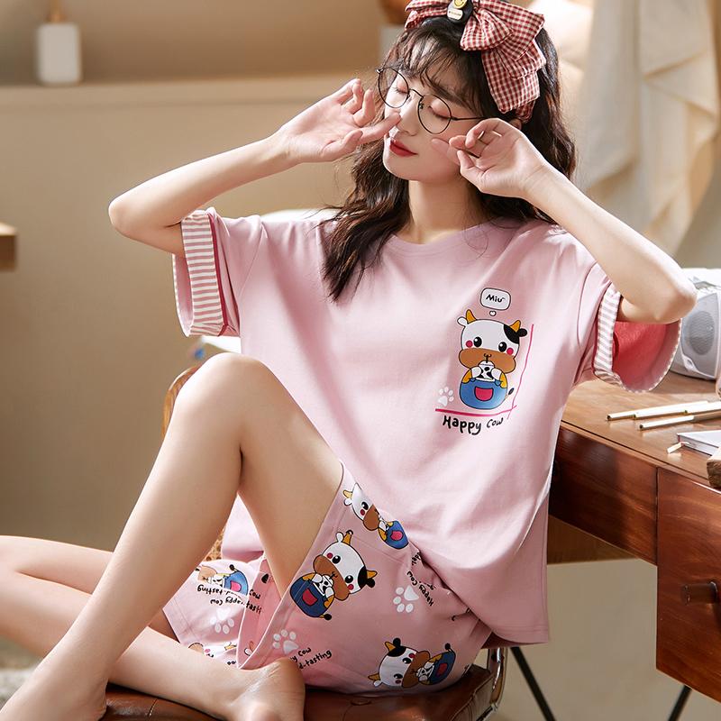 睡衣女春夏季棉质短袖短裤薄款可爱韩版ins可外穿家居服两件套装 No.1