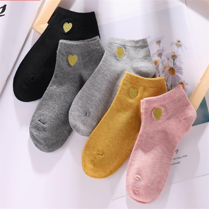 中筒袜 棉之坤十色女船袜小熊纯色男女士棉袜四季吸汗运动短袜