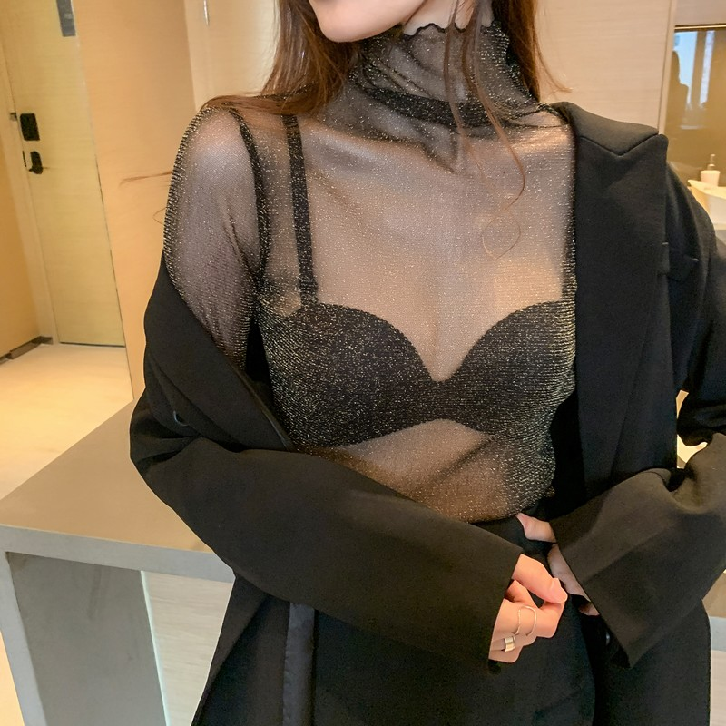 女装高领性感透视亮丝网纱蕾丝打底衫女内搭上衣防晒时尚长袖洋气