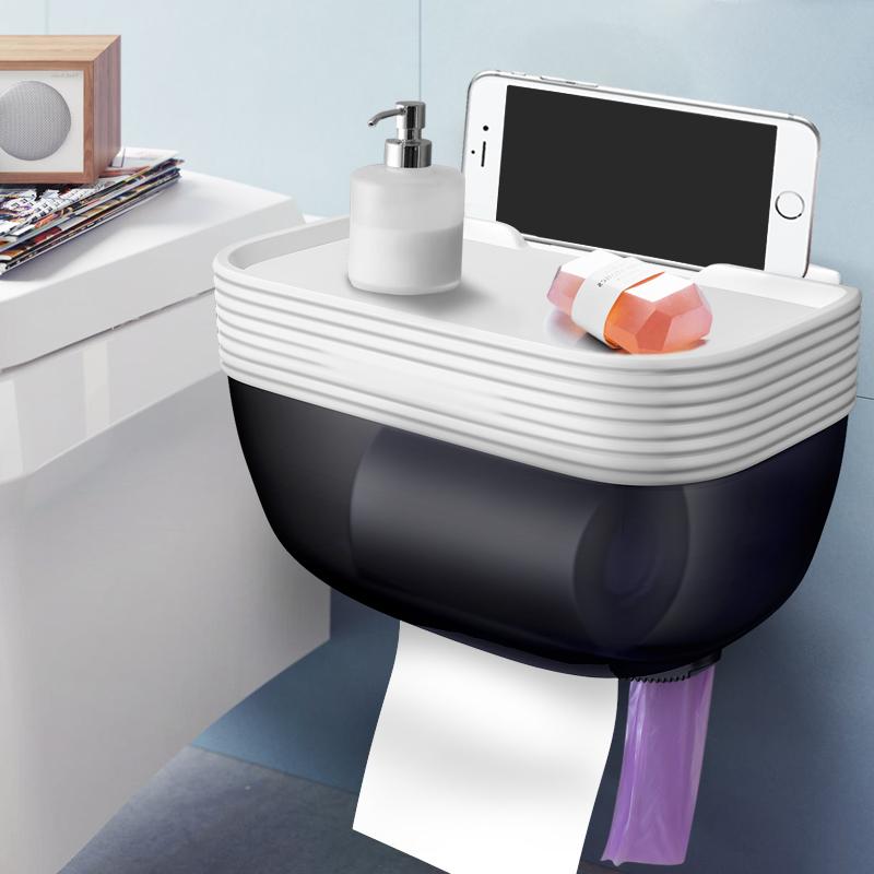 衛生間紙巾盒廁紙置物架廁所掛壁創意免打孔防水衛生紙抽紙卷紙盒