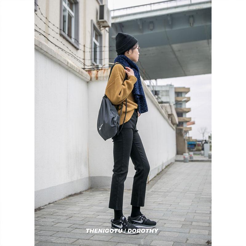 新款春弹力九分学生显瘦休闲少女裤百搭 2019 韩版高腰黑色直筒裤女