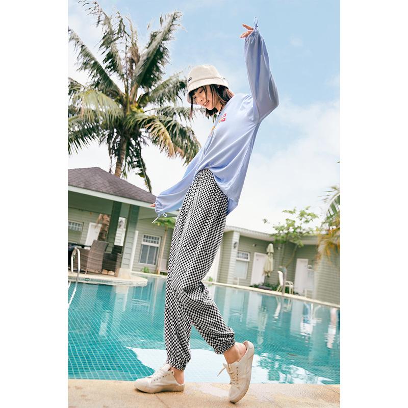 时尚品牌同款TPN2021年夏季新款高腰格纹休闲裤女束脚裤格纹休闲