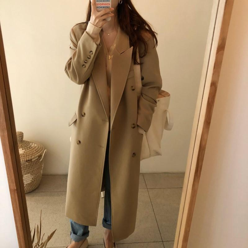 韩国秋冬新款双排扣翻领长款卡其色长款西装外套风衣 fox Miss