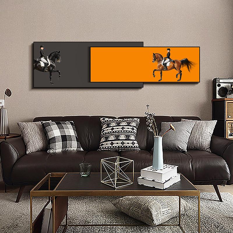轻奢客厅装饰画大气横幅马到成功卧室床头壁画沙发背景墙挂画