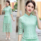 Short fashion improved cheongsam tops lace spring and summer new thin Chinese buckle ladies suit Tang suit dress