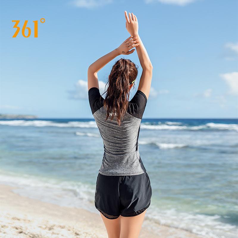 361度泳衣女分体平角裤两件套保守遮肚显瘦大码黑色休闲游泳衣女