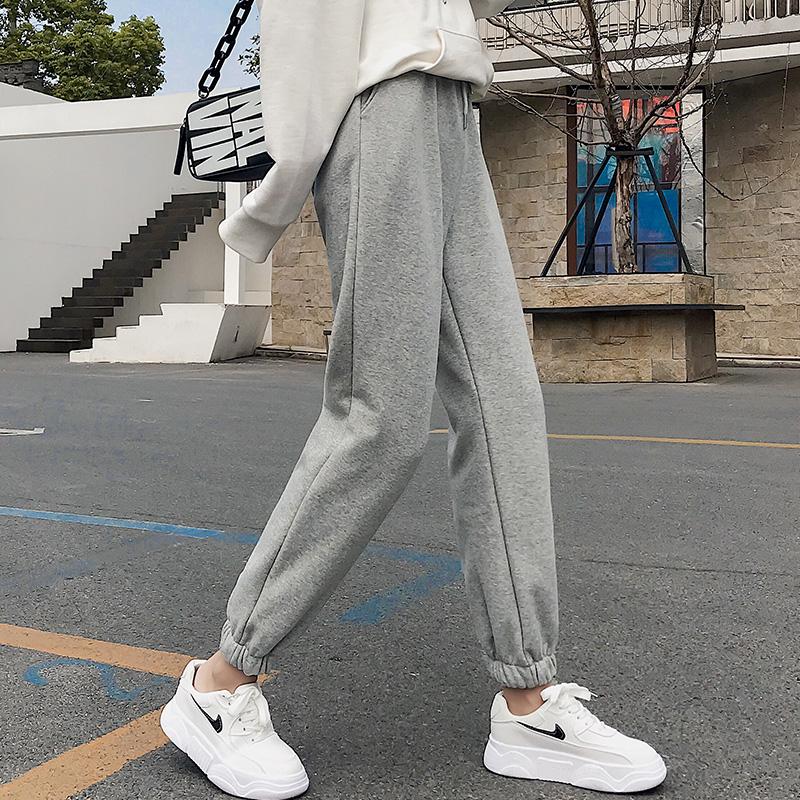 2020春秋薄款灰色运动裤女宽松束脚哈伦裤子加绒女外穿韩版休闲裤