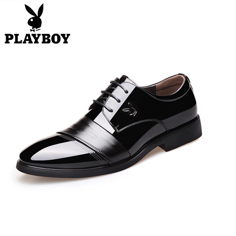 花花公子男士商務正裝真皮結婚皮鞋男新郎韓版尖頭黑色青年增高鞋